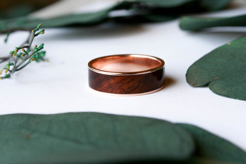 14K Gold Rings with Wood Inlay