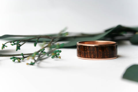 14k Rose Gold Ring Inlaid with Exhibition Koa Wood - Wooden Wear