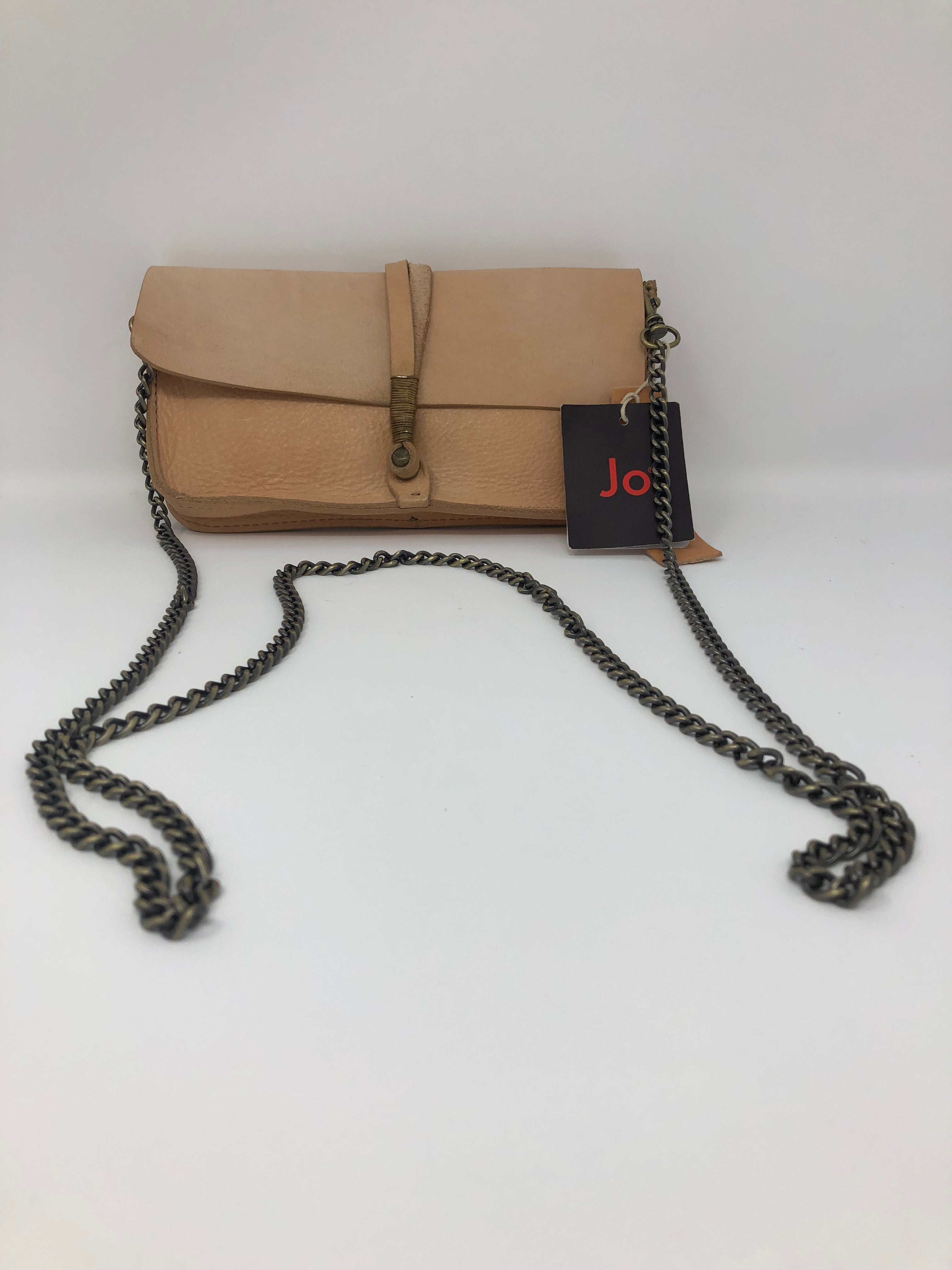 "Light Brown Leather Handbag with Chain (4""x8"")"