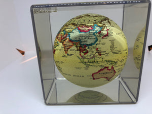 "Antique  MOVA Rotating 5"" Globe in Cube"