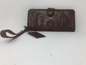 "Daisy Brown Leather Wristlet Wallet (3.75""x8"")"