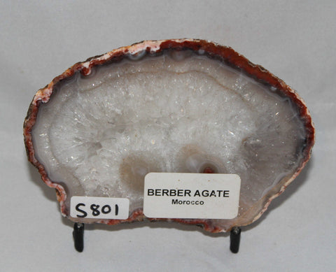 BERBER AGATE Polished CRYSTAL Slab, 130g Morocco (S801)