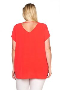 Short Sleeve Top W/ Spaghetti Back Detail