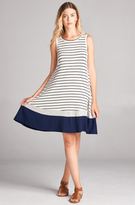 Striped Sleeveless Tunic Dress
