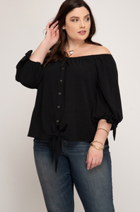 3/4 SLEEVE OFF THE SHOULDER WOVEN BUTTON DOWN TOP