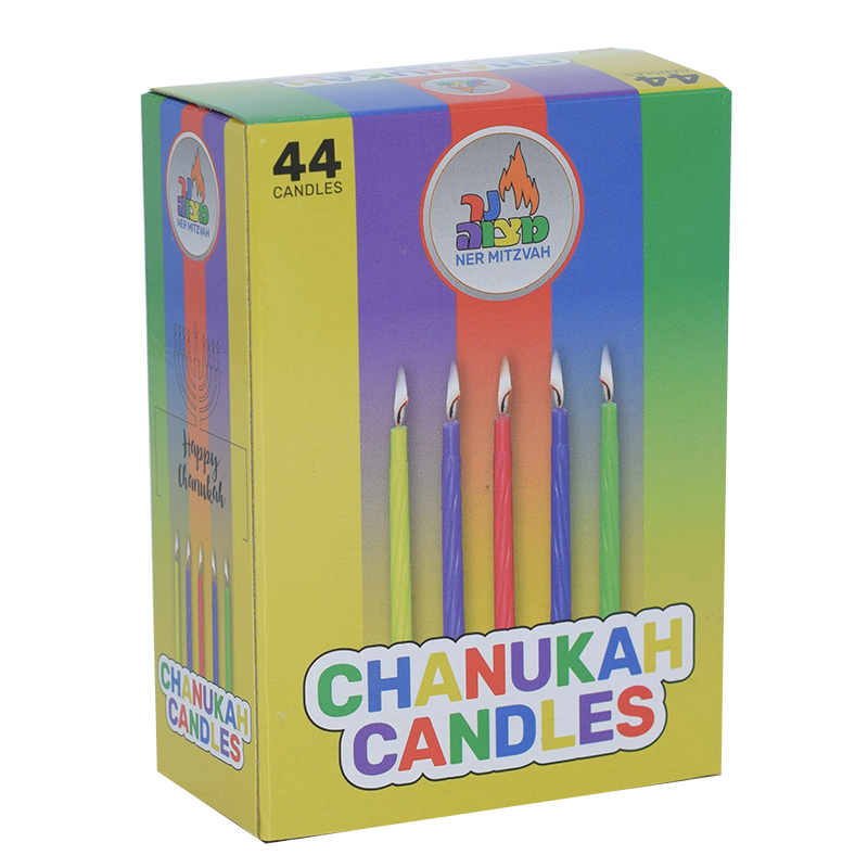 Colourful Chanukah Candles 44 Pack
