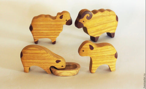 wooden sheep set - 4pc