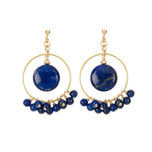 Modern and fun chandelier earrings made of Lapis Lazuli gemstones on Vermeil settings.