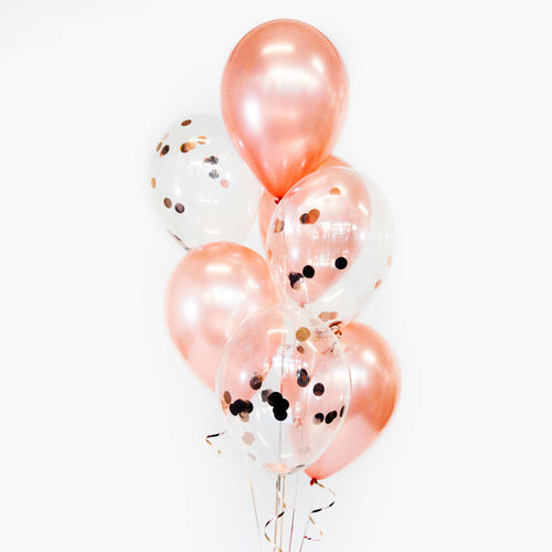 Bouquet of 7 Plain+Confetti Balloons - Pick your colour