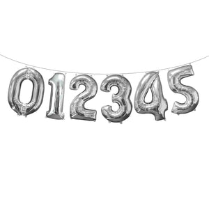 "Air Filled 16"" Silver Number Balloons"