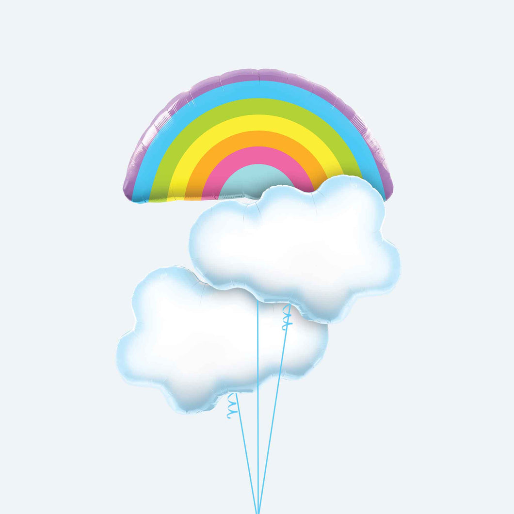 Rainbow and Clouds Balloon Bunch