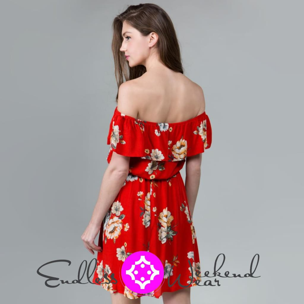 Beautiful Red Floral Dress - Dress