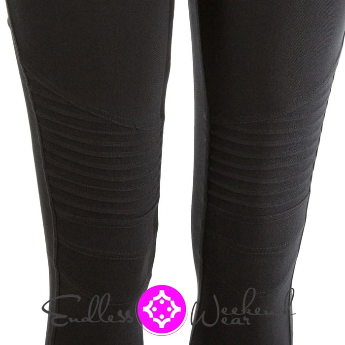 Black Moto Jeggings- Curvy - Bottoms