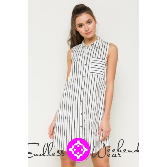 Black & White Stripe Sleeveless Dress - Dress