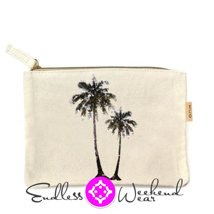 Canvas Pouch- Palm Tree - Accessories