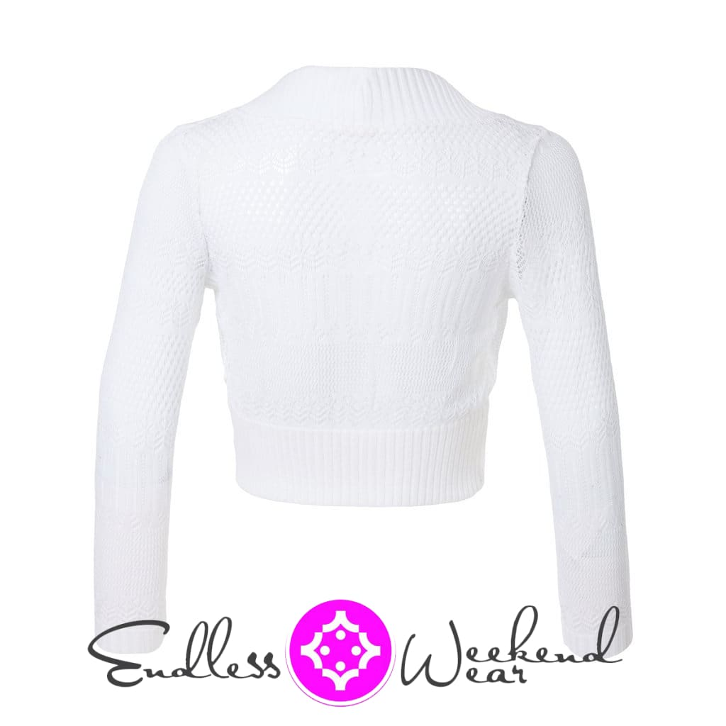 Curvy Size White Crochet Knit 3/4 Sleeve Open Front Cropped Bolero Cardigan - Tops