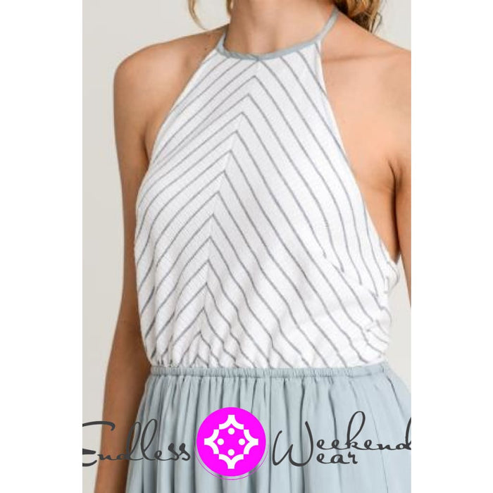 Grey & Sage Stripe Halter Neck Maxi Dress - Dress
