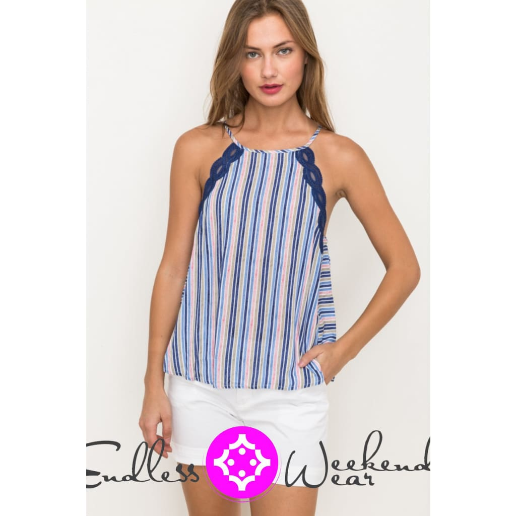 Lace Stripe Strap Top - Tops