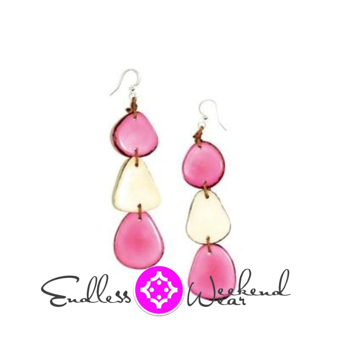 Pink & Ivory Bali Earrings - Earrings