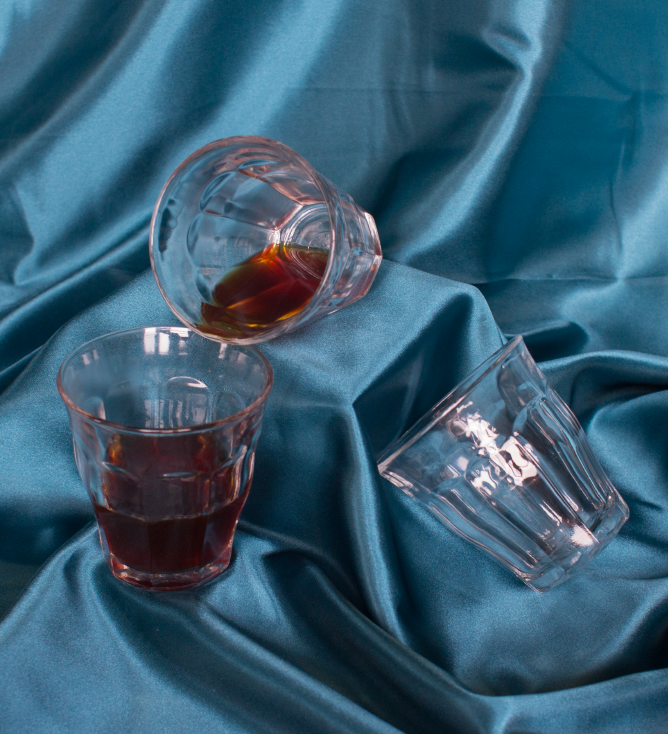 coffee glasses on blue background