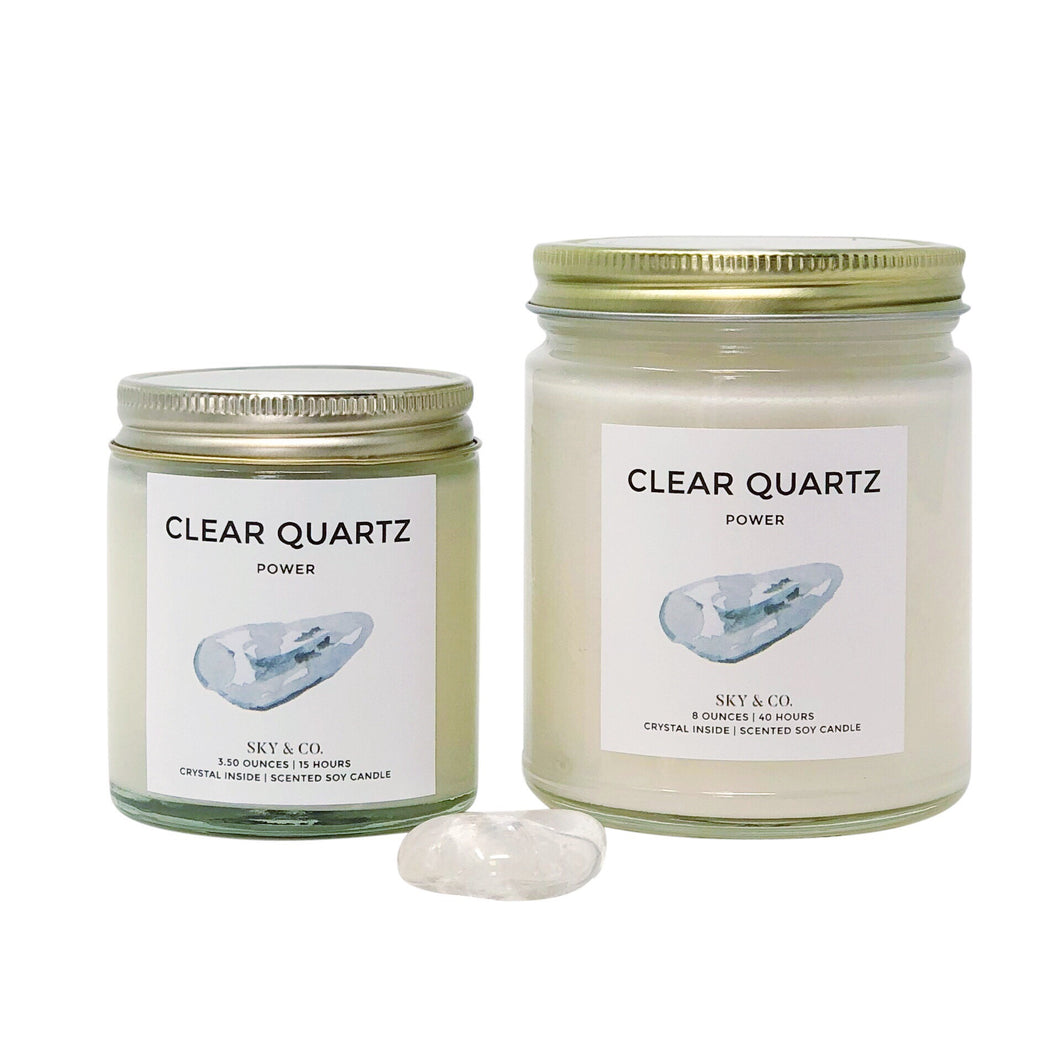 Clear Quartz Candle - Crystal Infused Candle