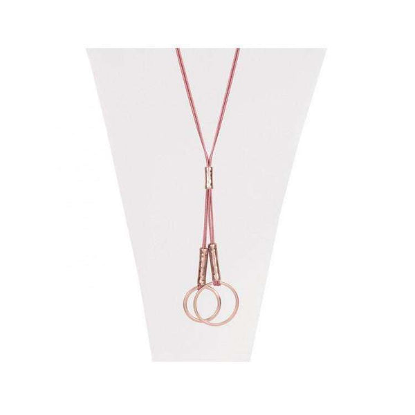 CARACOL LONG PINK ROPE NECKLACE ROSE GOLD HOOP PENDANT, ACCESSORIES, Styles For Home Garden & Living, Styles For Home Garden and Living