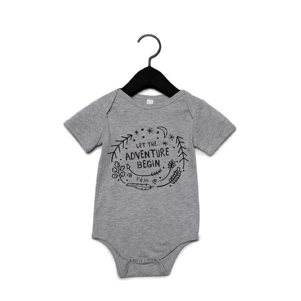 PORTAGE AND MAIN GREY UNISEX BABY ONESIE 'LET THE ADVENTURE BEGIN', KIDS, Styles For Home Garden & Living, Styles For Home Garden and Living