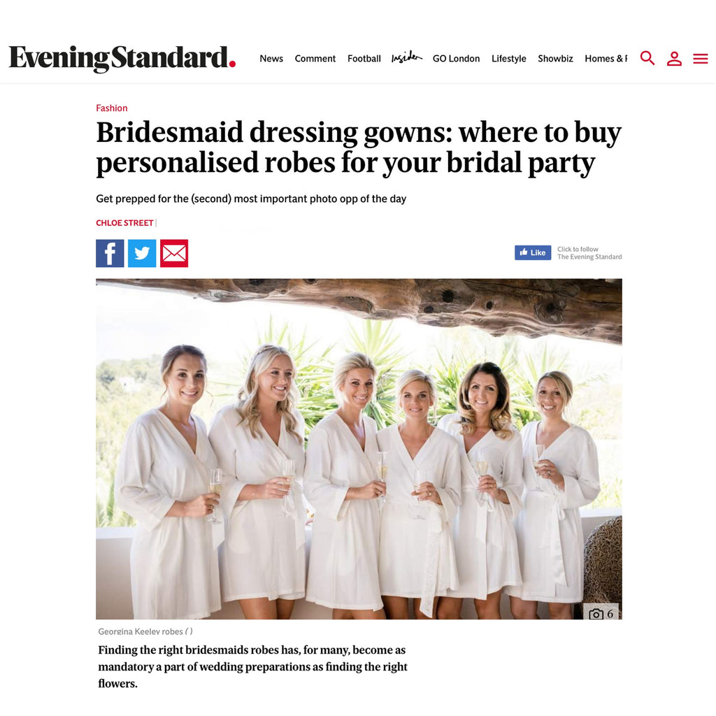 evening standard press feature georgina keeley white bridal robes