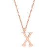 Elaina Rose Gold Stainless Steel X Initial Necklace