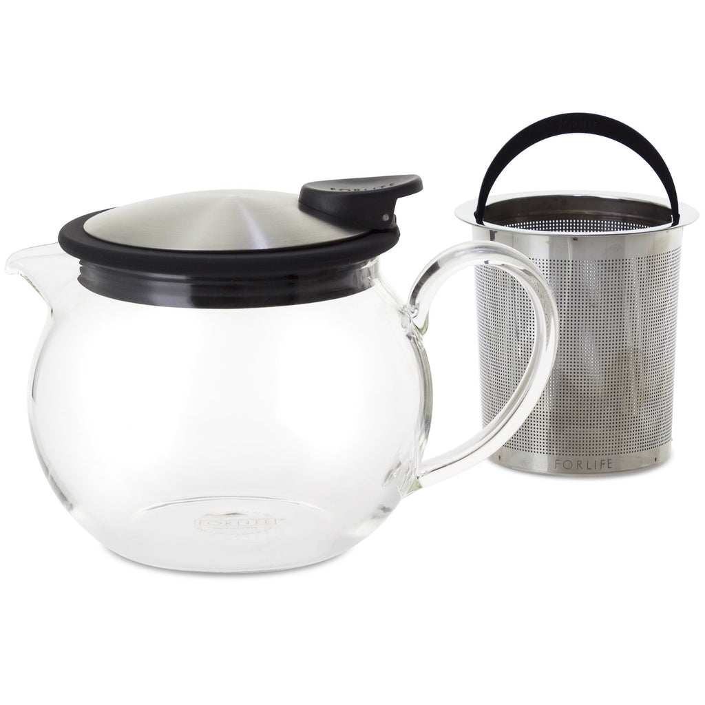 Bola Glass Teapot with Basket Infuser 15 oz - Black Graphite - Walters Bay