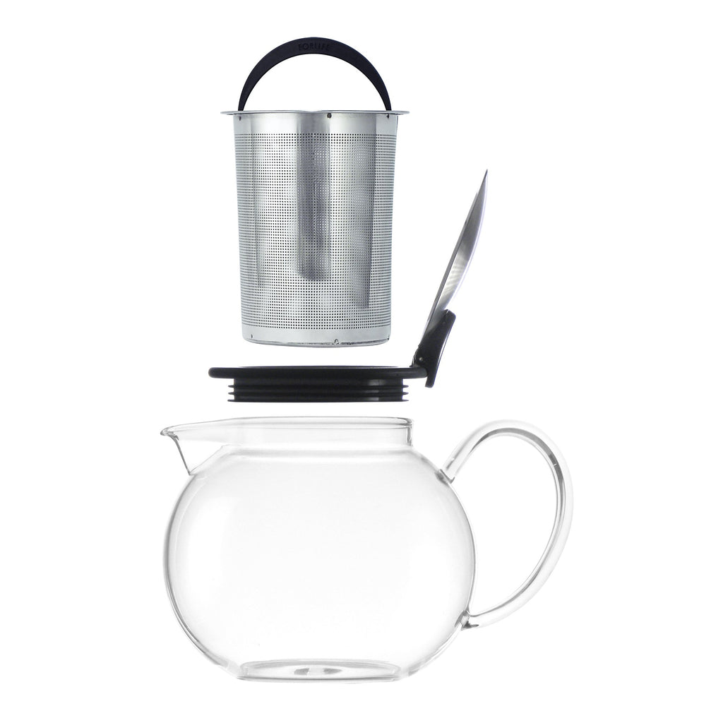 Bola Glass Teapot with Basket Infuser 25 oz - Black Graphite - Walters Bay