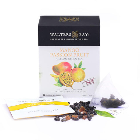 Mango Passion Fruit Ceylon Green Tea Full Leaf Tea Enveloped Tea Bags - Walters Bay