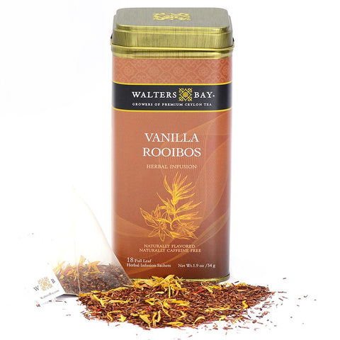 Vanilla Rooibos Herbal Infusion Full Leaf Tea Bags in Canister - Walters Bay