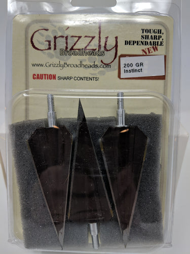 Grizzly Instinct, 3 Blade, Screw In Broadheads 200 grains, 3 pack