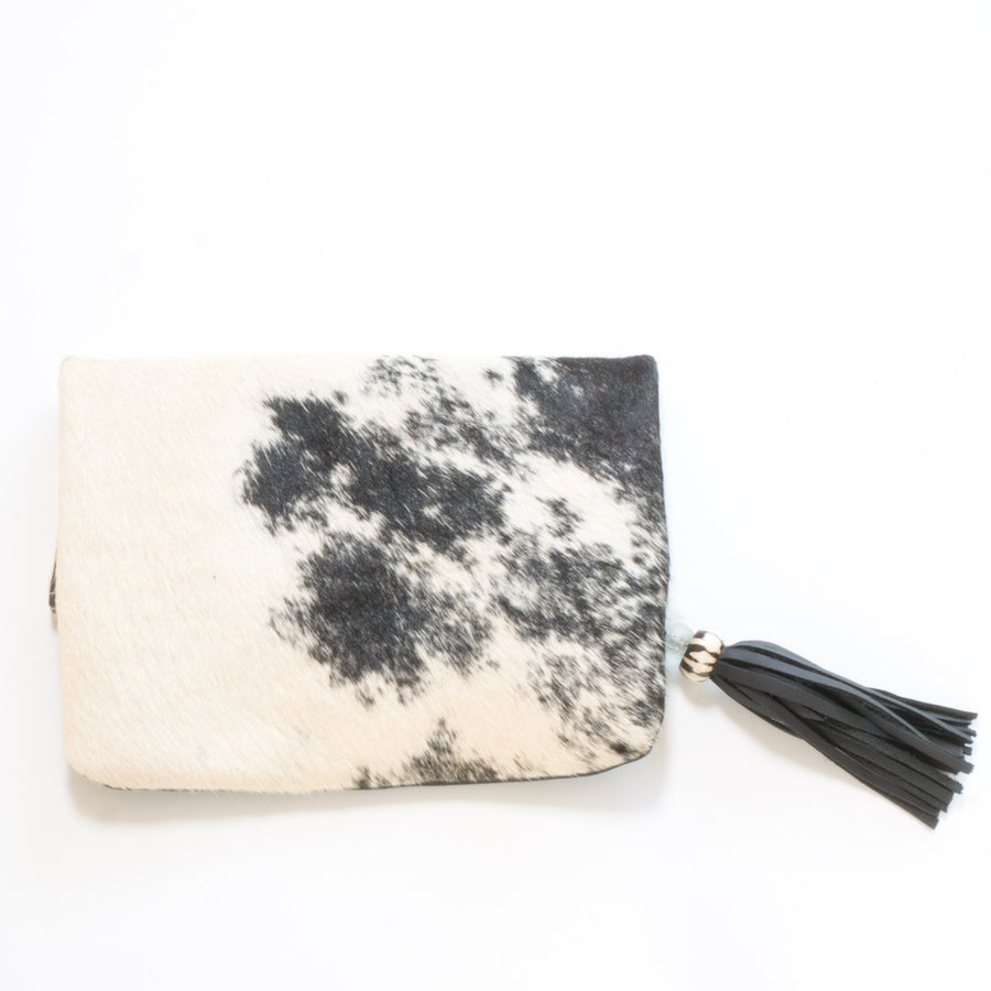 Fold Over Cowhide and Leather Clutch