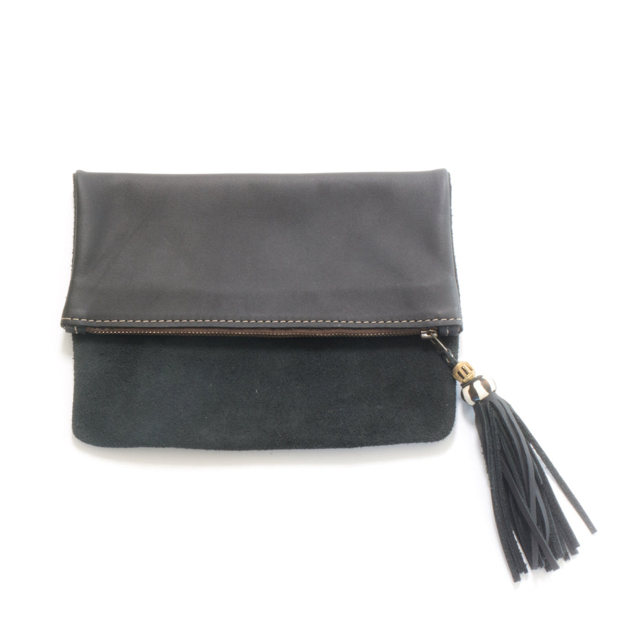 Foldover leather and suede clutches