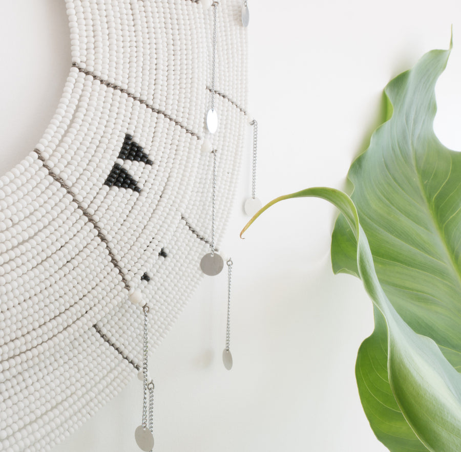 Unique, statement piece black and white beaded wall hanging