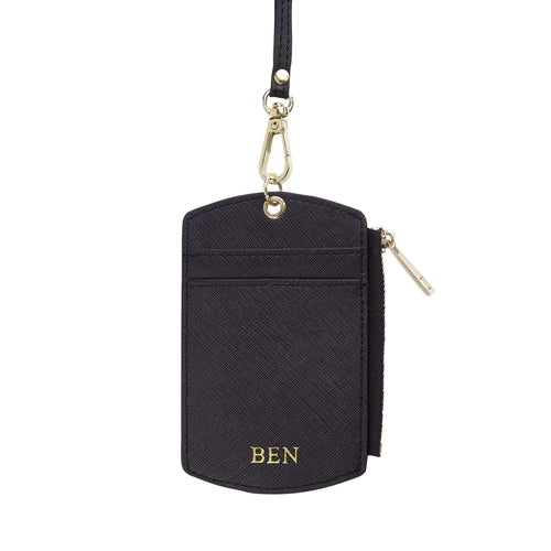 Black - Saffiano ID Cardholder Lanyard with Zip | Personalise | TheImprint Singapore