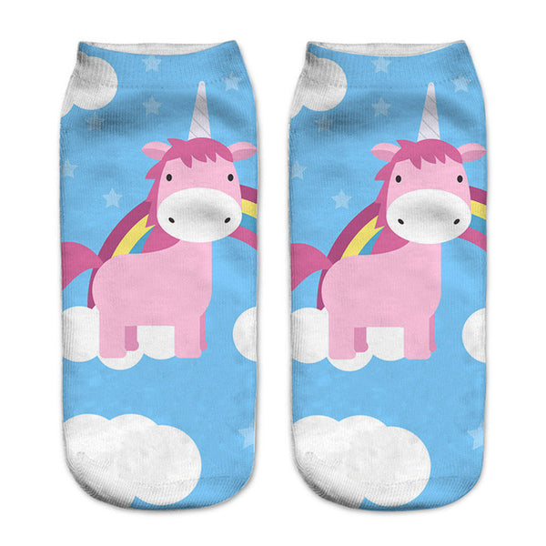 Colorful Unicorn Sweet 3D Printed Socks