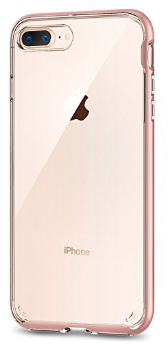 Spigen Neo Hybrid Crystal [2nd Generation] iPhone 8 Plus Case / iPhone 7 Plus Case with Clear Casing and Hard Bumper Frame for Apple iPhone 8 Plus (2017) / Apple iPhone 7 Plus (2016) - Rose Gold