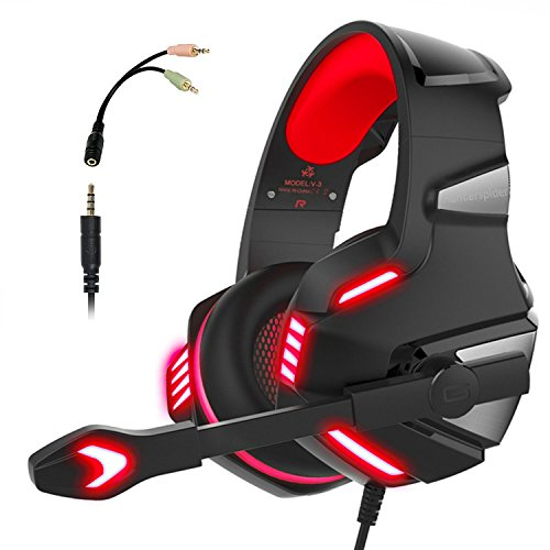 PS4 Headset, PS4 Headphones, PC Gaming Headset with LED light, Stereo Gaming Headphones with Mic, Noise Reduction Bass Headsets with Volume Control for Laptop, PC, Mac, iPad, Smartphones (Red)