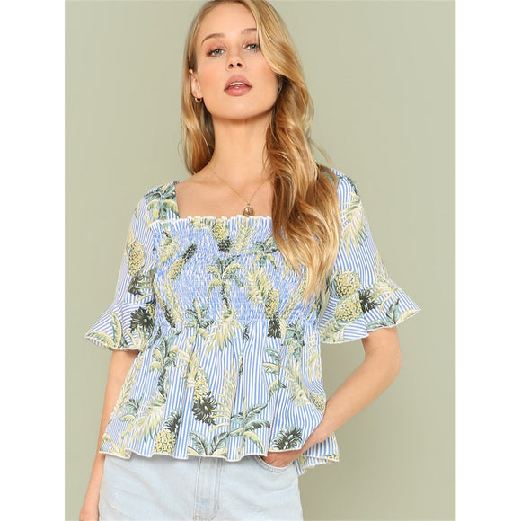 Pineapple Print Flounce Sleeve Shirred Panel Top