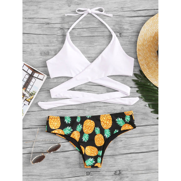 Pineapple Print Wrap Bikini Set