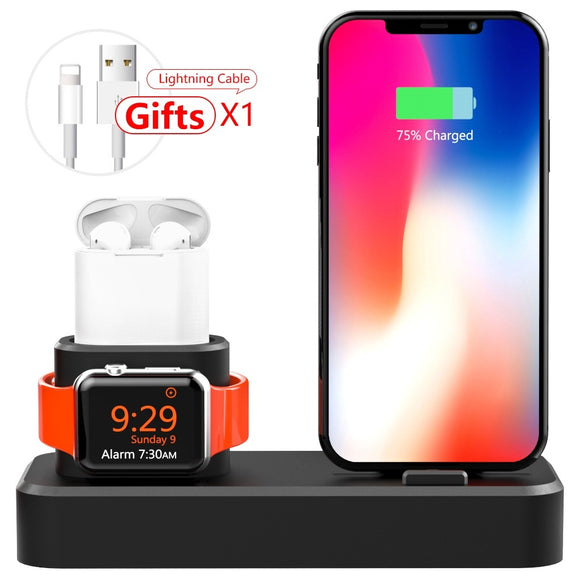 Charging Stand for Apple Watch, 3 in 1 Charging Station Silicone for Apple Watch Series 1/2/3, Airpods, Compatible with iPhone X