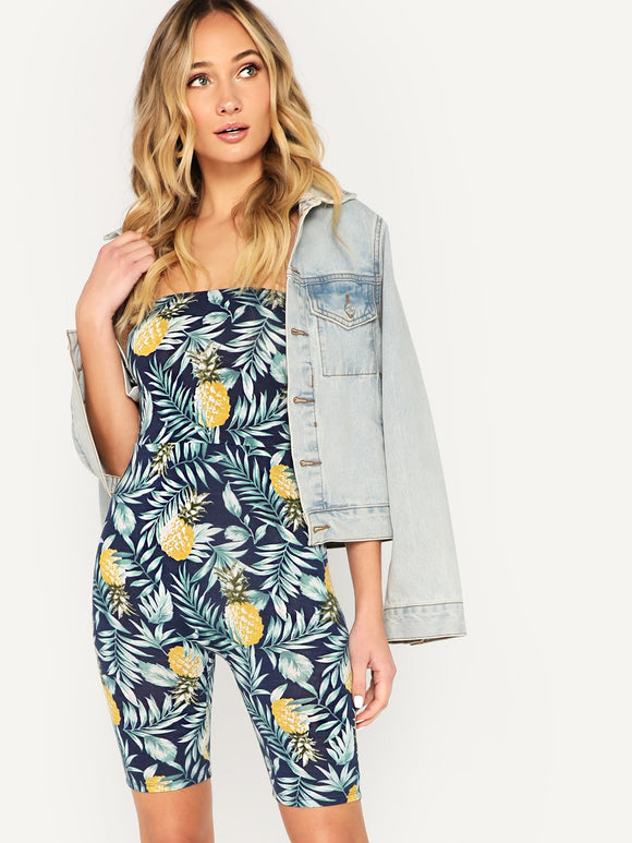 Pineapple & Tropical Print Fitted Tube Jumpsuit