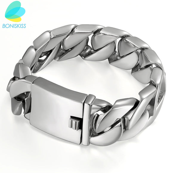 Boniskiss Fashion High Quality 24/30mm Stainless Steel Pop Punk Rock Style Round Chain Link Choker Bracelet Men Jewelry