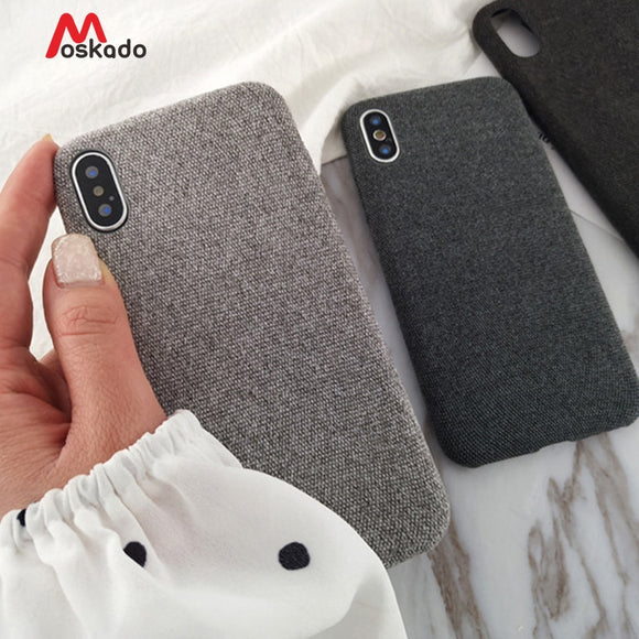 Moskado Plush Fabrics Phone Case For Apple iPhone X 8 7 6s 6 Plus Warm Plush Fashion Soft Color Back Cover Cases Capa Fundas