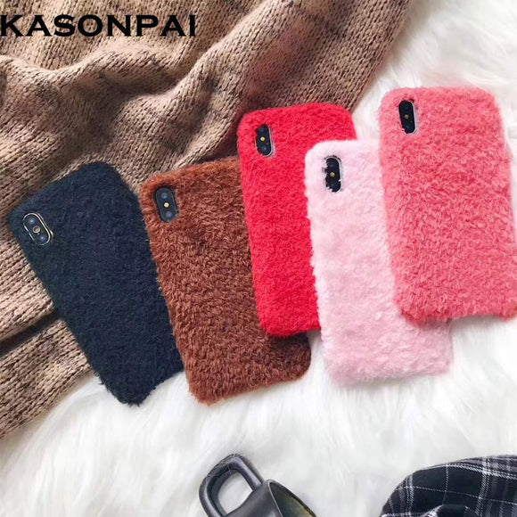 KASONPAI Fluffy Case for iPhone X Winter Warm Teddy Fur Hairy Fuzzy Plush Case for Apple iPhone 6 6S Plus 7 7Plus 8 8Plus Cover