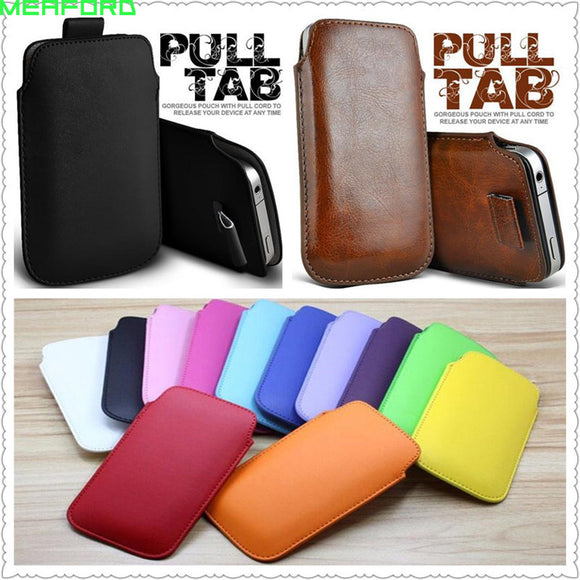 For iphone 8 plus 7plus case coque Universal Pull Tab Leather Sleeve Case For Apple iphone 7 plus 8plus Phone Pouch Bag cover