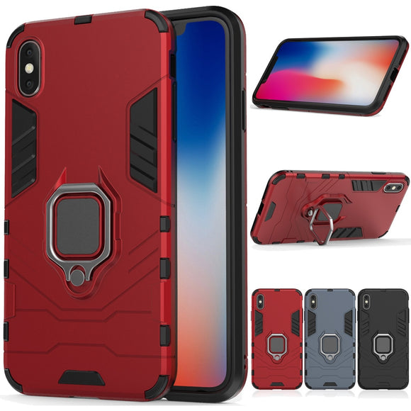 2 In 1 Soft TPU & Hard PC Back Magnetic Ring Armor Case For iPhone X / XS Shockproof Kickstand Cover For Apple iPhone X Xs 5.8